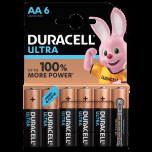 4 Piles Alcalines AA / LR6 Duracell Ultra