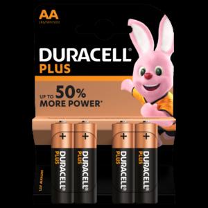 4 Piles Alcalines AA / LR6 Duracell Plus