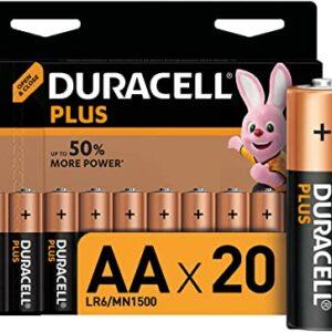 20 Piles Alcalines AA / LR6 Duracell Plus