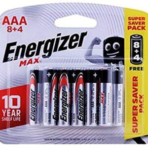 8+4 Piles Alcalines AA / LR6 Energizer Max