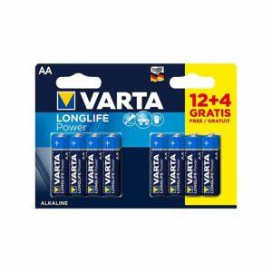 12+4 Piles Alcalines AA / LR6 Varta LongLife Power